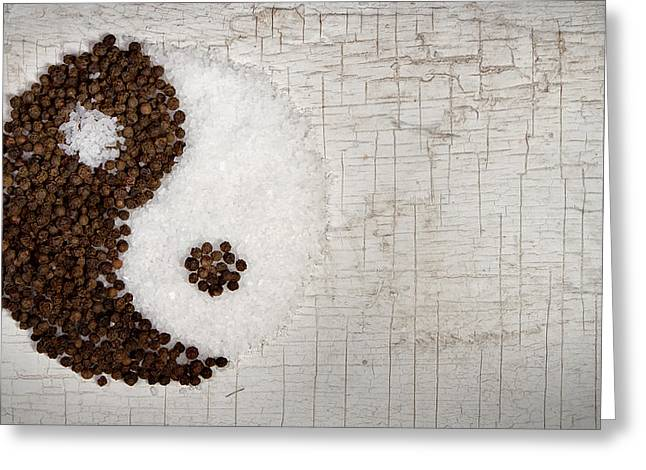Ying Greeting Cards - Yin and Yang salt and pepper on old door Greeting Card by Jennifer Huls