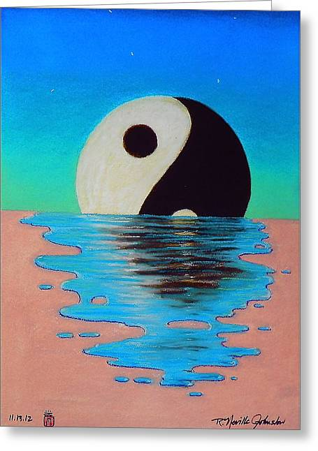 Puddle Pastels Greeting Cards - Yin Yang Dissolving Greeting Card by R Neville Johnston
