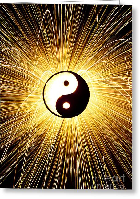 Opposite Greeting Cards - Yin Yang Light Greeting Card by Tim Gainey