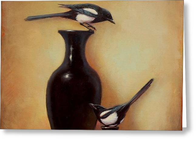 Yin Yang - Magpies  Greeting Card by Lori  McNee