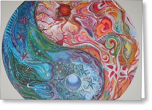 Best Sellers -  - Yang Greeting Cards - Yin Yang Mandala Greeting Card by Moira Gil