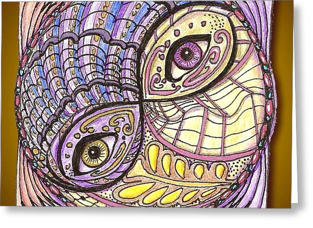 Observer Drawings Greeting Cards - Yin Yang Greeting Card by Melinda DeMent