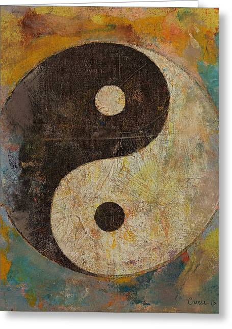 Contemporary Symbolism Greeting Cards - Yin Yang Greeting Card by Michael Creese