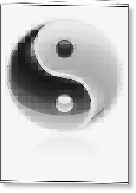 Yang Greeting Cards - Yin Yang Mosaic Greeting Card by Daniel Hagerman