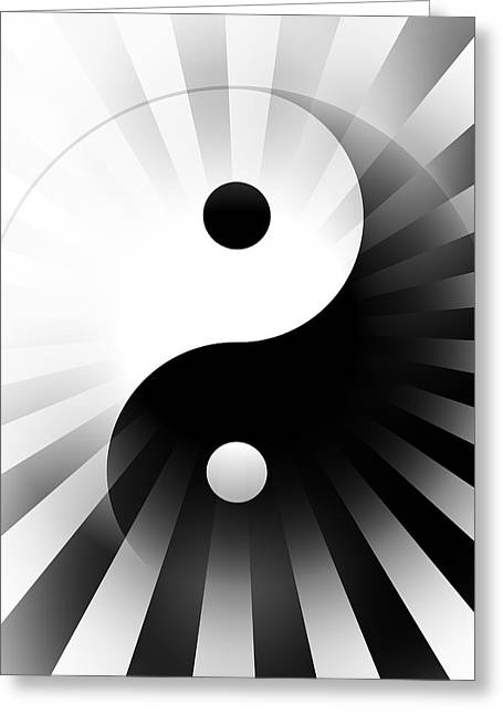 Yang Greeting Cards - Yin Yang Power Greeting Card by Daniel Hagerman