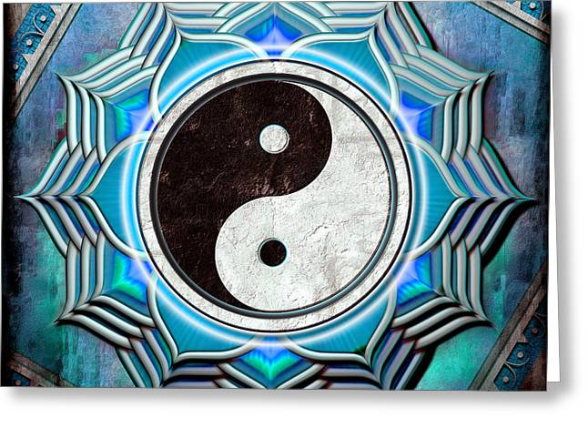 Energize Digital Greeting Cards - Yin Yang - The healing of the blue chakra. Greeting Card by Dirk Czarnota
