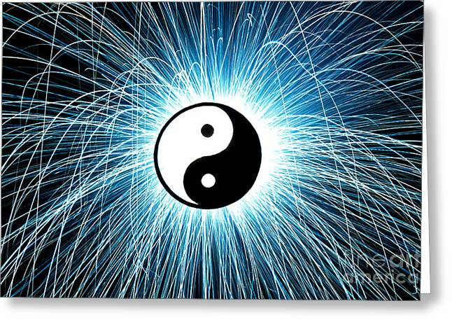 Spark Greeting Cards - Yin Yang Greeting Card by Tim Gainey
