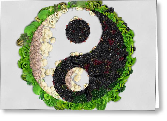 Union Square Greeting Cards - Yin Yang vegetables art on white background Greeting Card by Eti Reid