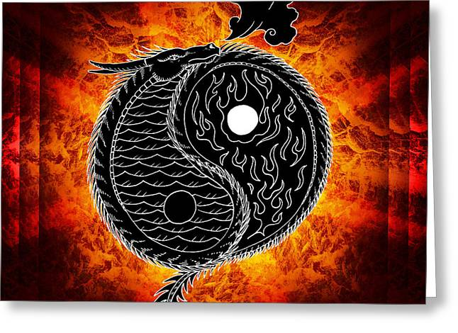 Fire And Water Greeting Cards - Ying and Yang Greeting Card by Robert Ball
