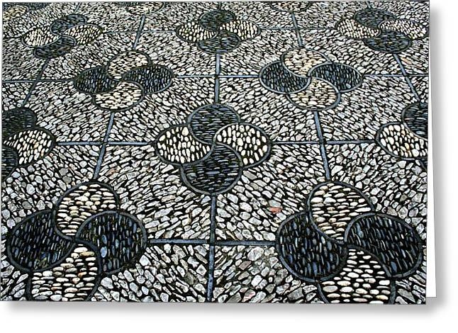 Ying Greeting Cards - Ying and Yang Stone Walkway Greeting Card by CJ Anderson