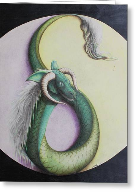 Ying Drawings Greeting Cards - Ying Yang Dragon Greeting Card by Maciel Cantelmo