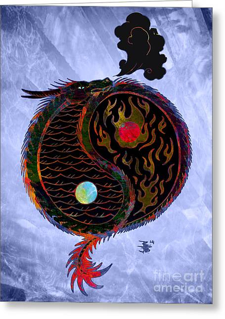 Evil And Good Digital Art Greeting Cards - Ying Yang Dragon Greeting Card by Robert Ball