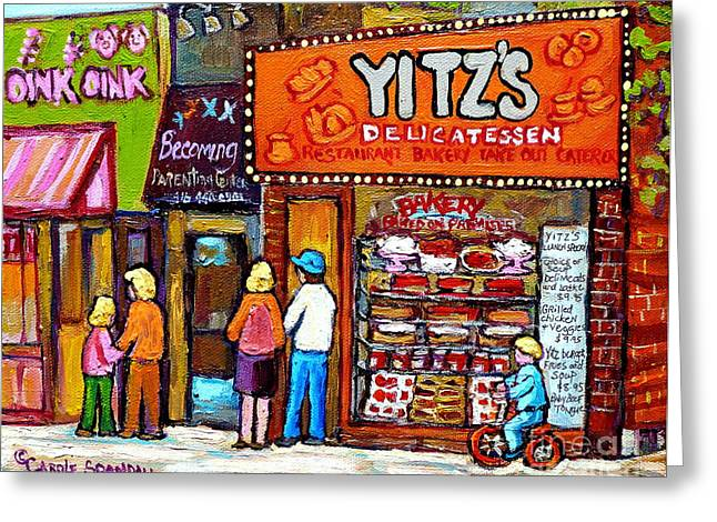 Caterer Greeting Cards - Yitzs Deli Toronto Restaurants Cafe Scenes Paintings Of Toronto Landmark City Scenes Carole Spandau  Greeting Card by Carole Spandau