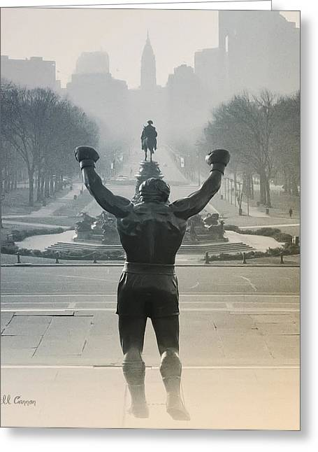 Stallone Digital Art Greeting Cards - Yo Adrian Greeting Card by Bill Cannon