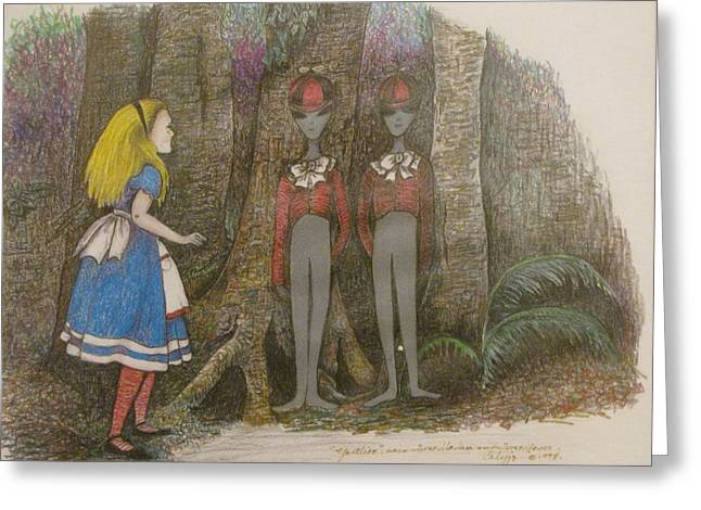 Apron Drawings Greeting Cards - Yo Alice says Tweedledee and Tweedledum Greeting Card by JoAnn Cotyjo Smith