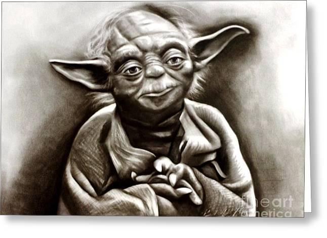 Master Yoda Greeting Cards - Yoda  Greeting Card by Barbara  Rivera