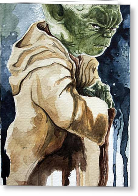 Star Greeting Cards - Yoda Greeting Card by David Kraig