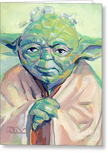 Kelly Paintings Greeting Cards - Yoda Greeting Card by Kimberly Santini