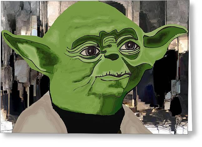 Master Yoda Greeting Cards - Yoda Greeting Card by Mary Cloninger