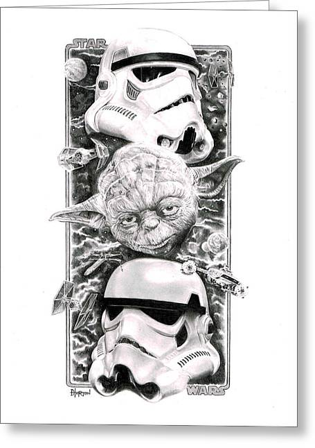 Y Wing Greeting Cards - Yoda n Troopers Greeting Card by David Horton