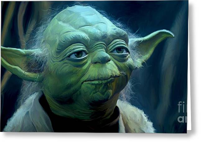 Recently Sold -  - City Lights Greeting Cards - Yoda Greeting Card by Paul Tagliamonte