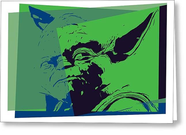 Master Yoda Greeting Cards - Yoda Pop Art Greeting Card by Dan Sproul