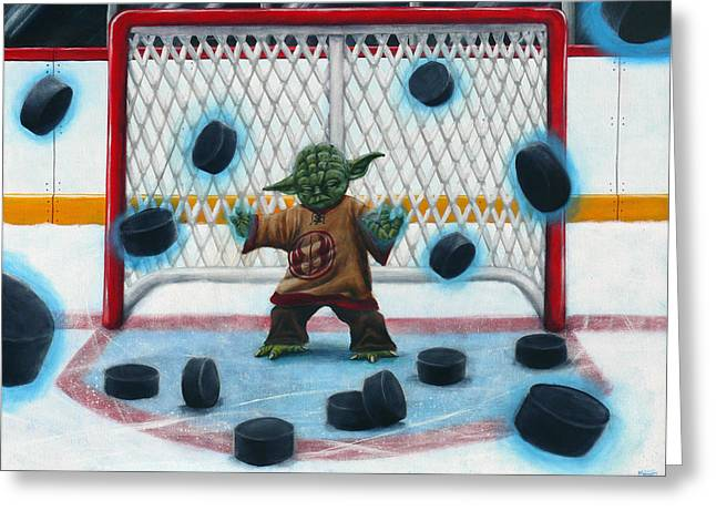 Hockey Paintings Greeting Cards - Yoda Saves Everything Greeting Card by Marlon Huynh