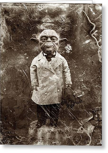 1800s Greeting Cards - Yoda Star Wars Antique Photo Greeting Card by Tony Rubino
