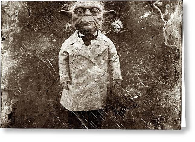 Yoda Star Wars Antique Photo Greeting Card by Tony Rubino