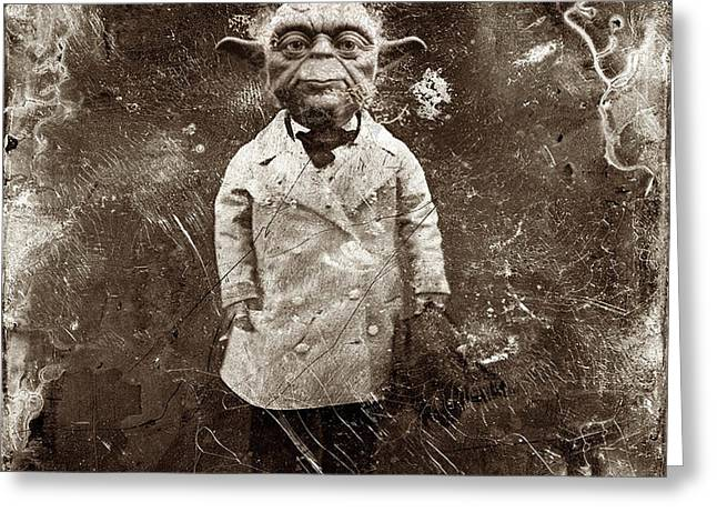 Culture Mixed Media Greeting Cards - Yoda Star Wars Antique Photo Greeting Card by Tony Rubino
