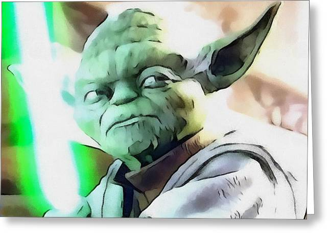 Science Greeting Cards - Yoda Star Wars Greeting Card by Dan Sproul