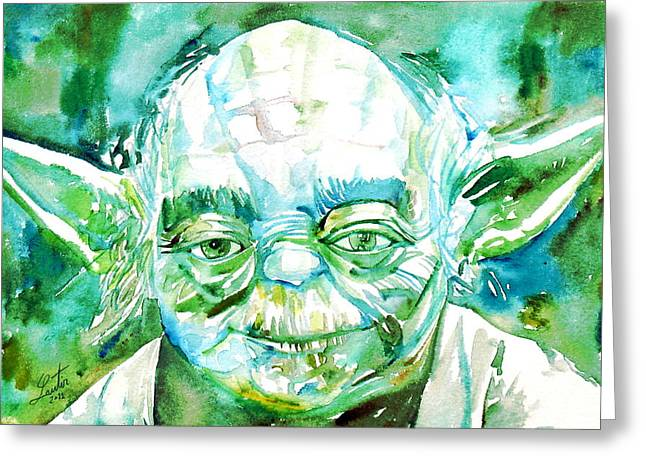 Yoda Watercolor Portrait Greeting Card by Fabrizio Cassetta