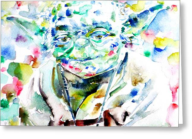 Masters Pictures Greeting Cards - YODA watercolor portrait.1 Greeting Card by Fabrizio Cassetta