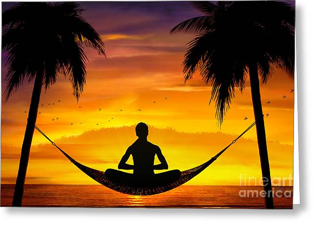 Yoga At Sunset Greeting Card by Bedros Awak