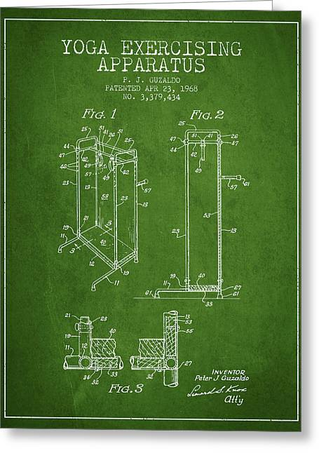 Spiritual Drawings Greeting Cards - Yoga Exercising Apparatus patent from 1968 - Green Greeting Card by Aged Pixel