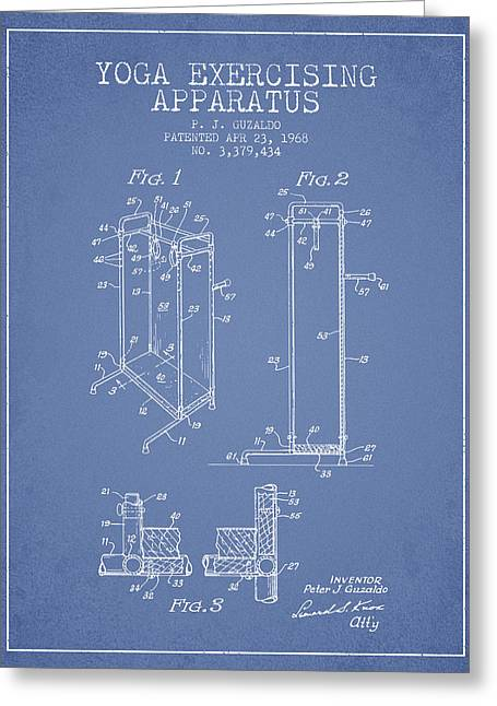 Spiritual Drawings Greeting Cards - Yoga Exercising Apparatus patent from 1968 - Light Blue Greeting Card by Aged Pixel