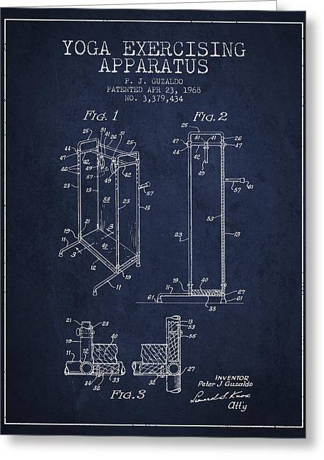 Spiritual Drawings Greeting Cards - Yoga Exercising Apparatus patent from 1968 - Navy Blue Greeting Card by Aged Pixel