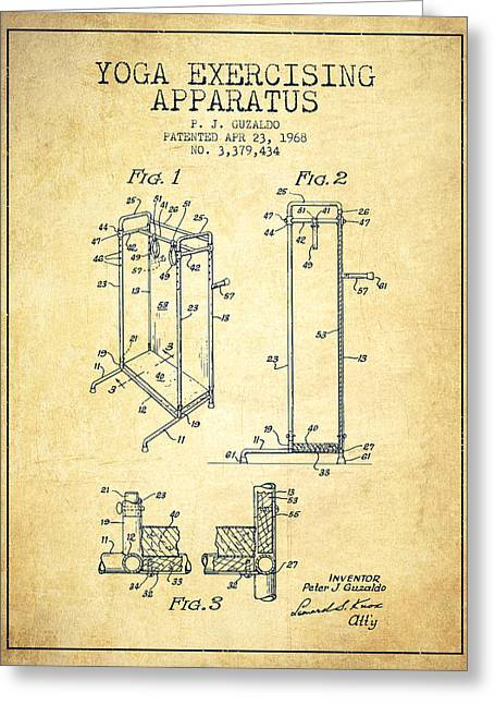 Spiritual Drawings Greeting Cards - Yoga Exercising Apparatus patent from 1968 - Vintage Greeting Card by Aged Pixel