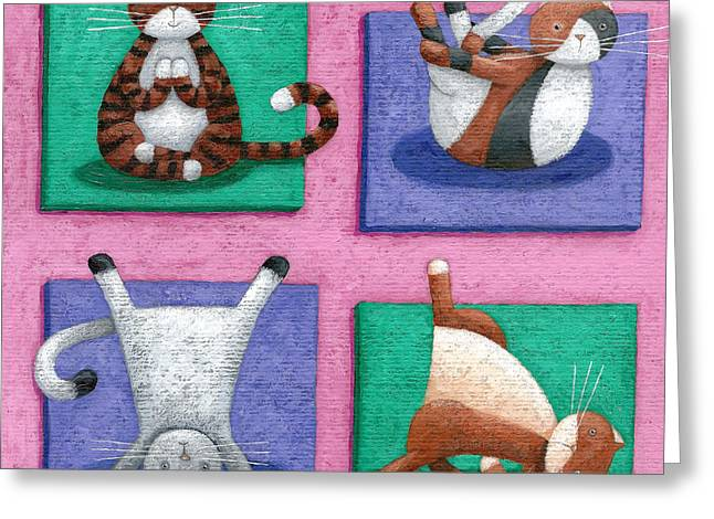 Vitality Greeting Cards - Yoga For Cats Greeting Card by Peter Adderley