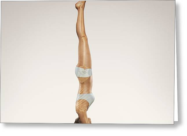 Digitally Generated Image Photographs Greeting Cards - Yoga Headstand Pose Greeting Card by Science Picture Co