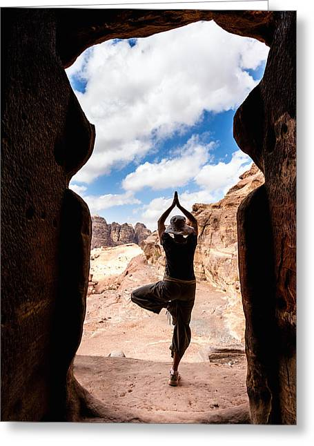 Petra - Jordan Greeting Cards - Yoga in Petra Greeting Card by Alexey Stiop