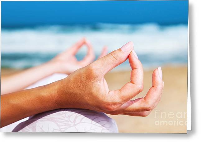Doing Greeting Cards - Yoga meditation on the beach Greeting Card by Anna Omelchenko
