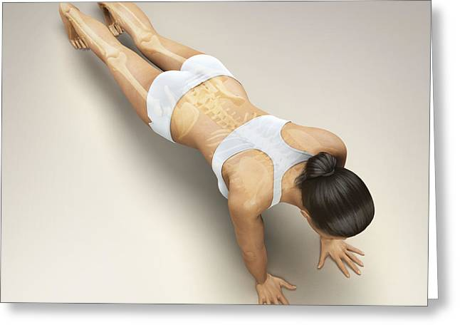Digitally Generated Image Photographs Greeting Cards - Yoga Plank Pose Greeting Card by Science Picture Co