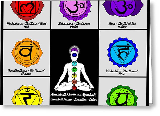 Sahasrara Greeting Cards - Yoga Reiki Seven Chakra Symbols Chart Greeting Card by Ernest Bolds