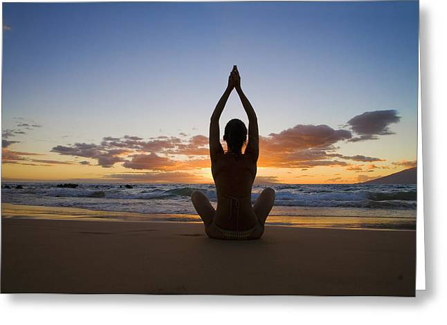 Attract Health Greeting Cards - Yoga Silhouette 1 Greeting Card by M Swiet Productions