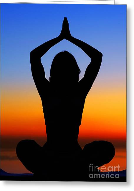 Doing Greeting Cards - Yoga woman over sunset Greeting Card by Anna Omelchenko