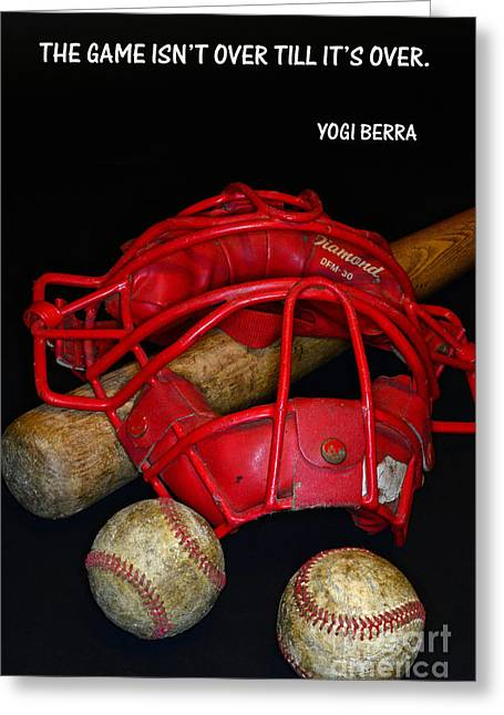 Baseball Bat Greeting Cards - Yogi Berra on Baseball Greeting Card by Paul Ward