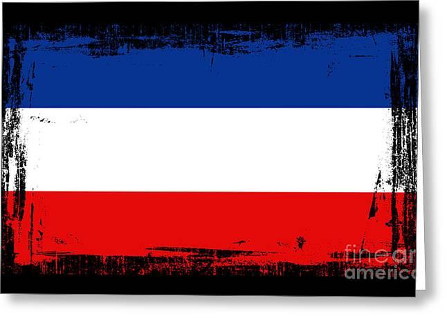 Europe Mixed Media Greeting Cards - Beautiful Yogoslavia Flag Greeting Card by Pamela Johnson