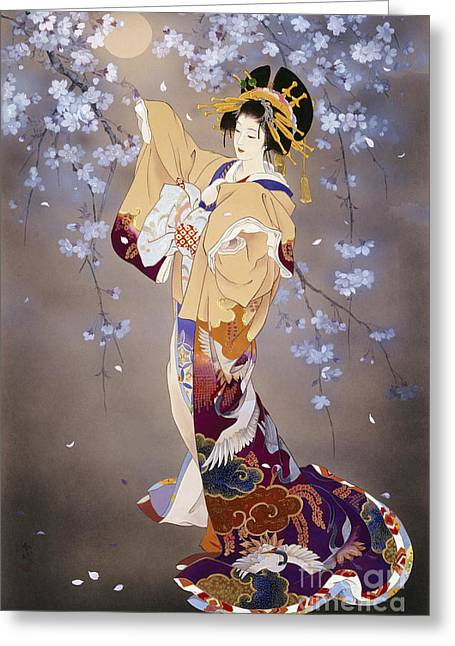 Geisha Greeting Cards - Yoi Greeting Card by Haruyo Morita
