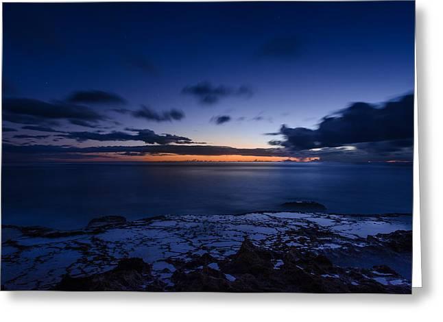 Top Seller Greeting Cards - Yokohama beach sunset in Honolulu Hawaii Greeting Card by Tin Lung Chao